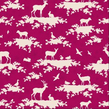 Tilda Fabric ~ Forest Carmine Red