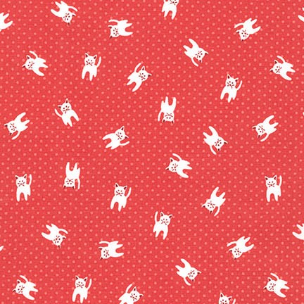 Robert Kaufman Fabrics ~ Naptime 2 ~ Kittens Red