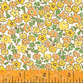 Windham Fabrics ~ Storybook Vacation ~ Floral Yellow & Orange