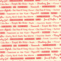 Moda Fabrics ~ Farmhouse ~ Text Tomato