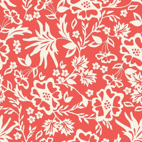 Riley Blake ~ Apricot and Persimmon ~ Floral Coral