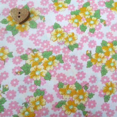 Lecien Fabric ~ Old New 30's ~ Floral in Pink and Yellow
