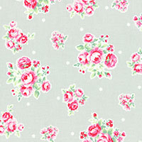 Lecien Fabric ~ Flower Sugar ~ Rose Grey