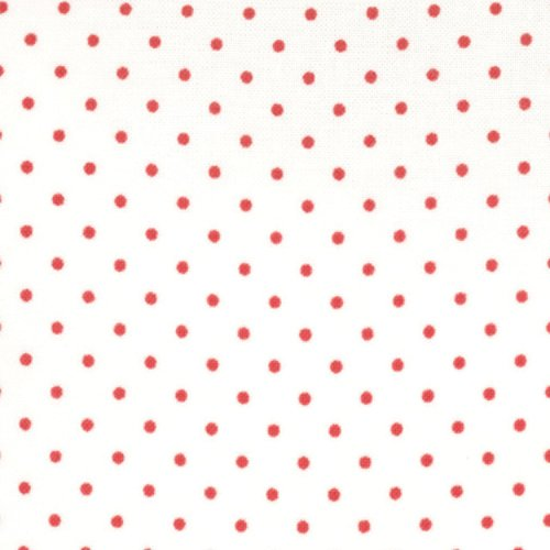 Moda Fabrics ~ Essential Dots ~ Tiny Dot in White with Red Spots