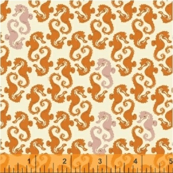 Windham Fabrics ~ Mendocino ~ Sea Horses Orange on Cream