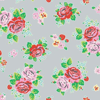 Penny Rose Fabrics ~ Strawberry Biscuit ~ Main Grey