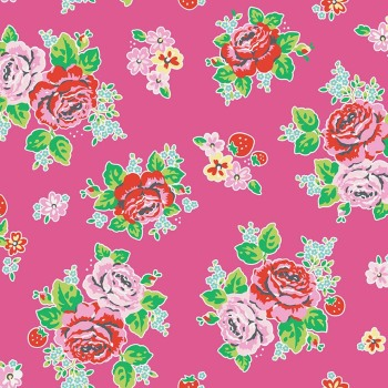 Penny Rose Fabrics ~ Strawberry Biscuit ~ Main Hot Pink