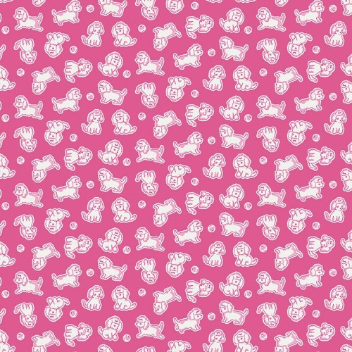 Penny Rose Fabrics ~ Strawberry Biscuit ~ Poodle Hot Pink