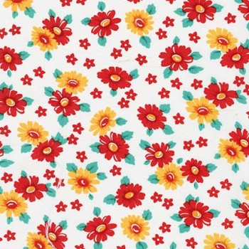 Robert Kaufman Fabrics ~ Morningside Farm ~ Daisies Red