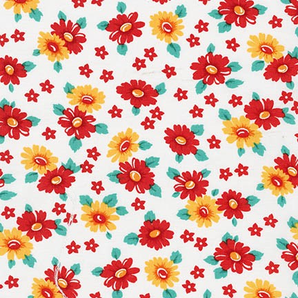 Robert Kaufman Fabrics ~ Morningside Farm ~ Daisies Red