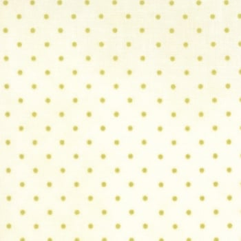 Moda Fabrics ~ Essential Dots ~ Tiny Dot in Cream with Moss Green Spots