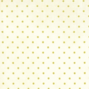 Moda Fabrics ~ Essential Dots ~ Dot in Cream with Moss Green Spots