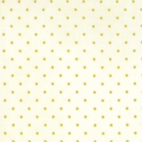 Moda Fabrics ~ Essential Dots ~ Tiny Dot in Cream with Moss Green Spots