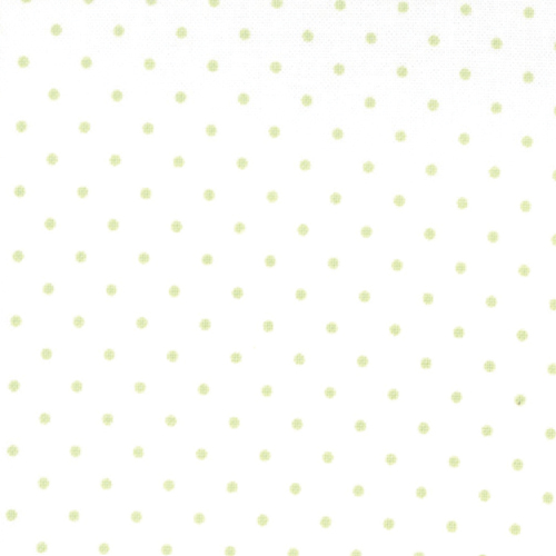 Moda Fabrics ~ Essential Dots ~ Tiny Dot in White with Spring Green Spots