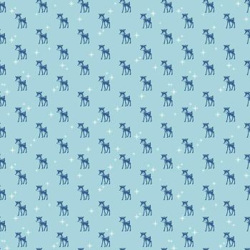 Riley Blake Fabric ~ Cozy Christmas ~ Reindeer Blue