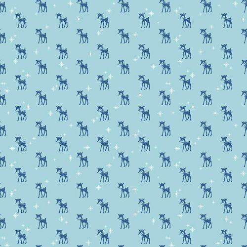 Riley Blake Fabric ~ Cozy Christmas ~ Reindeer Blue