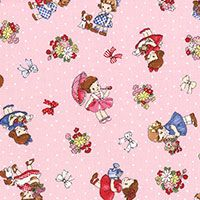 Lecien Fabric ~ Old New 30's ~ Polka Dot Little Ladies Pink