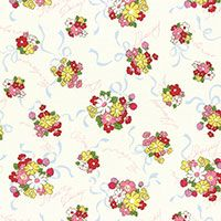 Lecien Fabric ~ Old New 30's ~ Posies Ivory