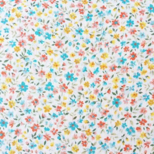 Sevenberry Fabric ~ Flower Garden Aqua, Coral and Yellow