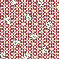 P & B Textiles ~ Feedsack ~ Buds Red