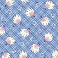 P & B Textiles ~ Feedsack ~ Crosshatch Floral Blue