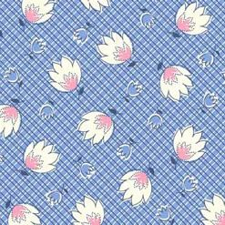 P & B Textiles ~ Feedsack ~ Crosshatch Floral Blue