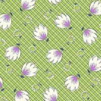 P & B Textiles ~ Feedsack ~ Crosshatch Floral Green