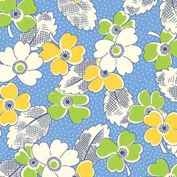 P & B Textiles ~ Feedsack ~ Dotty Blooms Blue