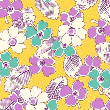 P & B Textiles ~ Feedsack ~ Dotty Blooms Yellow