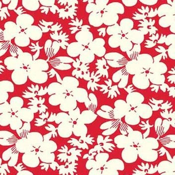 P & B Textiles ~ Feedsack ~ Floral Red
