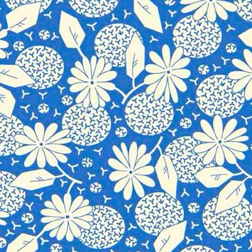 P & B Textiles ~ Feedsack ~ Flower Heads Blue