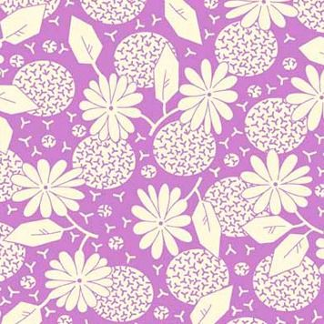 P & B Textiles ~ Feedsack ~ Flower Heads Lilac
