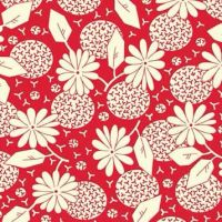 P & B Textiles ~ Feedsack ~ Flower Heads Red