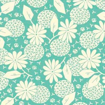 P & B Textiles ~ Feedsack ~ Flower Heads Teal