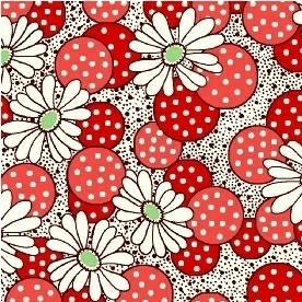 Windham Fabrics ~ Feedsack ~ Polka Dot Flower Red