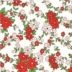 Windham Fabrics ~ Storybook Christmas ~ Poinsettias White