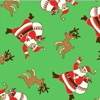 Windham Fabrics ~ Storybook Christmas ~ Santa Claus and Reindeer Green