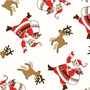 Windham Fabrics ~ Storybook Christmas ~ Santa Claus and Reindeer White