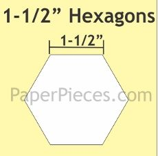 Patchwork Paper Pieces ~ Hexagon 1 1/2""