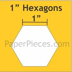 Patchwork Paper Pieces ~ Hexagon 1""