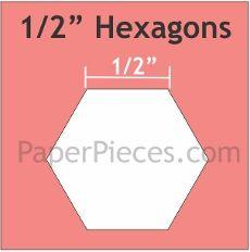 "Patchwork Paper Pieces ~ Hexagon 1/2"""