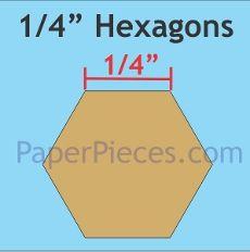 "Patchwork Paper Pieces ~ Hexagon 1/4"""