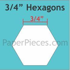Patchwork Paper Pieces ~ Hexagon 3/4