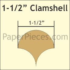 Patchwork Paper Pieces ~ Clamshells 1 1/2""