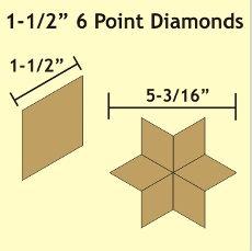 Patchwork Paper Pieces ~ 6 Point Diamond 1 1/2