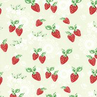 Lecien Fabric ~ High Tea ~ Doily Strawberries in Green Tea