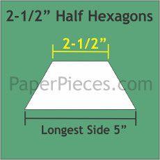 Patchwork Paper Pieces ~ Half Hexagon 2 1/2