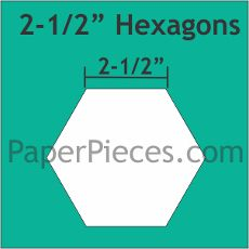 Patchwork Paper Pieces ~ Hexagon 2 1/2""