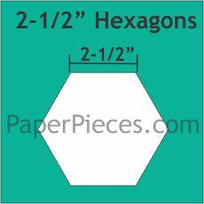 "Patchwork Paper Pieces ~ Hexagon 2 1/2"""