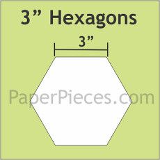 Patchwork Paper Pieces ~ Hexagon 3""